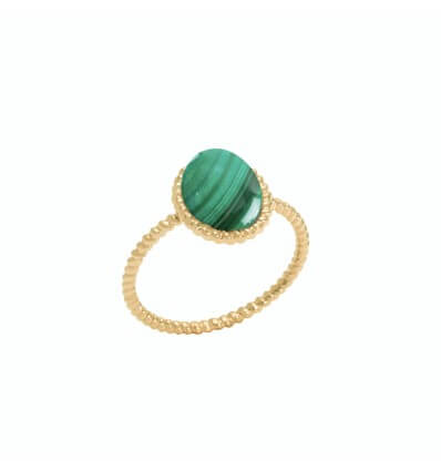 Ring Berlingot Mini Yellow Gold Malachite