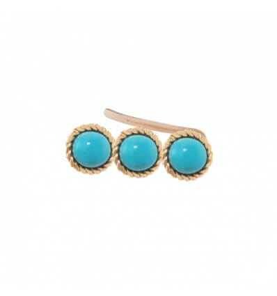 Earcuff Tiny Pink Gold Turquoises