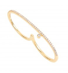 2 Fingers ring Diamini Paved Rainbow Yellow Gold Diamonds