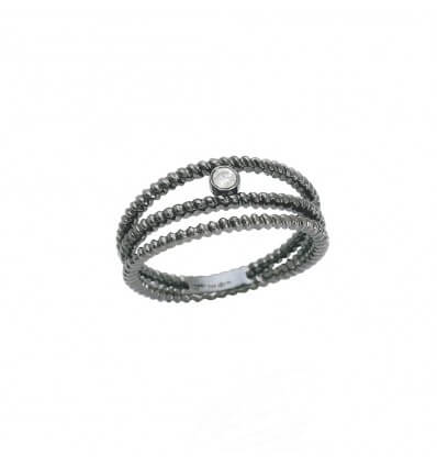 Ring Diamini 3 rows Black Gold Diamond