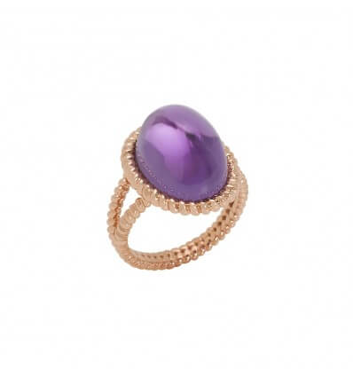 Ring Berlingot Maxi Pink Gold Amethyst