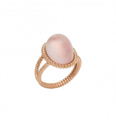 Bague Berlingot Maxi Or Rose Quartz Rose