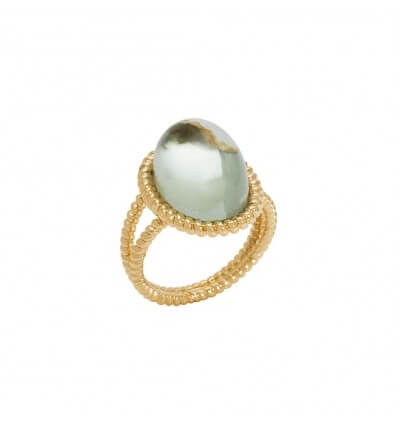 Bague Berlingot Maxi Or Jaune Prasiolite