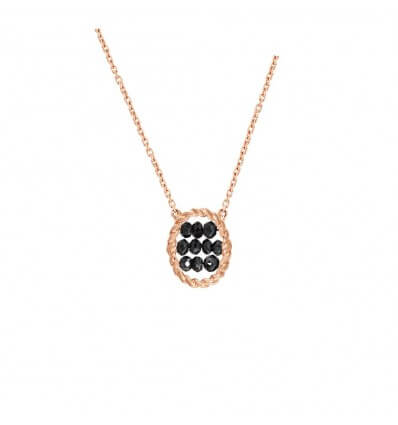 Pendant Briolette Pink Gold Black Diamonds