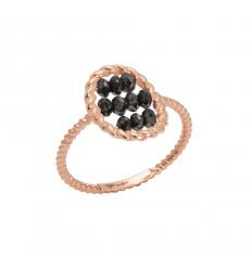 Ring Briolette Pink Gold Black Diamonds