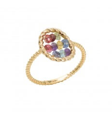 Ring Briolette Yellow Gold Multicolored Stones