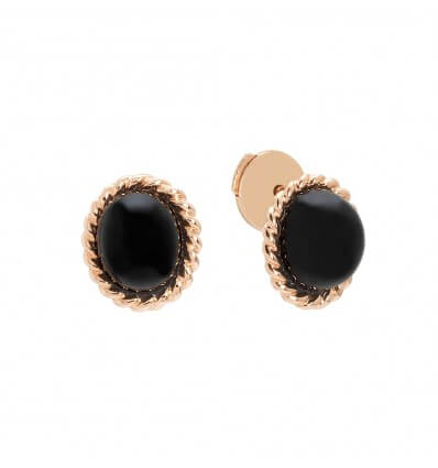 Studs Berlingot Mini Pink Gold Onyx