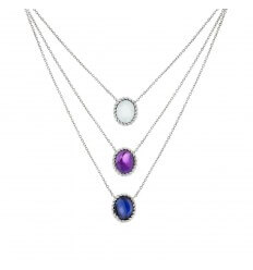 Necklace Triple Berlingot Mini White Gold Aquamarine Amethyst and Iolit