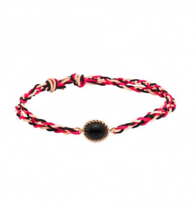 Bracelet Berlingot Cord Mini Pink Gold Onyx