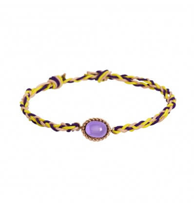 Bracelet Berlingot Cord Mini White Gold Amethyst