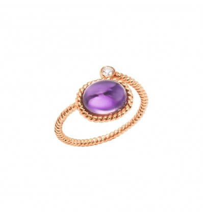 Ring Toi et Moi Berlingot Mini Pink Gold Amethyst