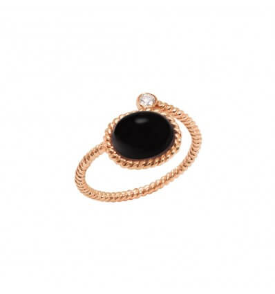Ring Toi et Moi Berlingot Mini Pink Gold Onyx