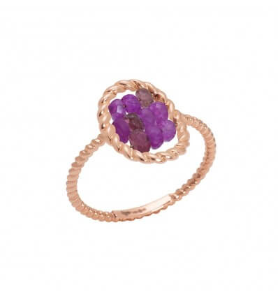 Ring Briolette Pink Gold Cherry