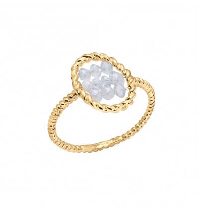 Ring Briolette Yellow Gold Icy Diamonds