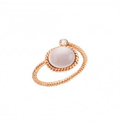 Ring Toi et Moi Berlingot Mini Pink Gold Pink Quartz